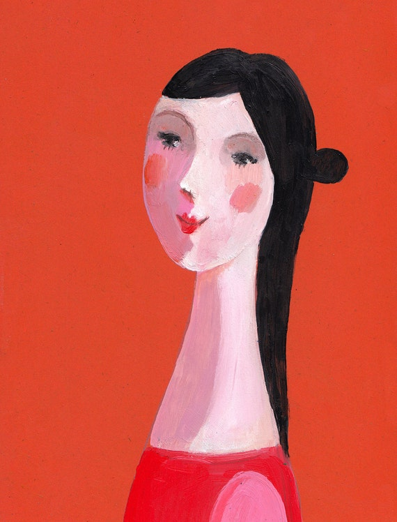 Young red girl / Original painting