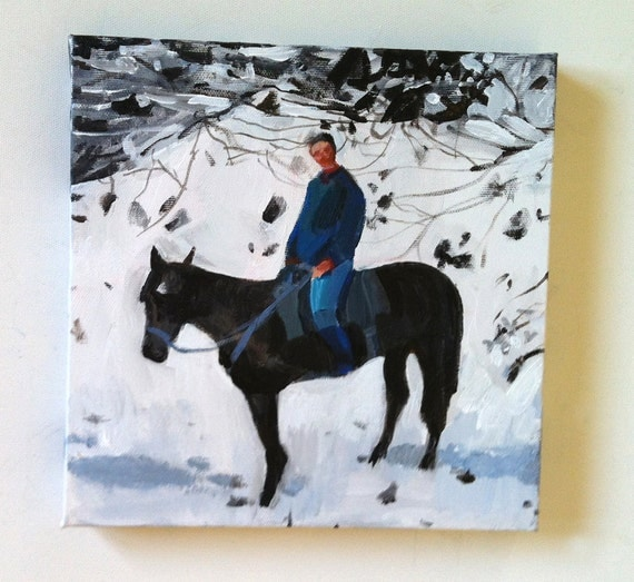 The rider and his horse / Original acrylic painting on canvas
