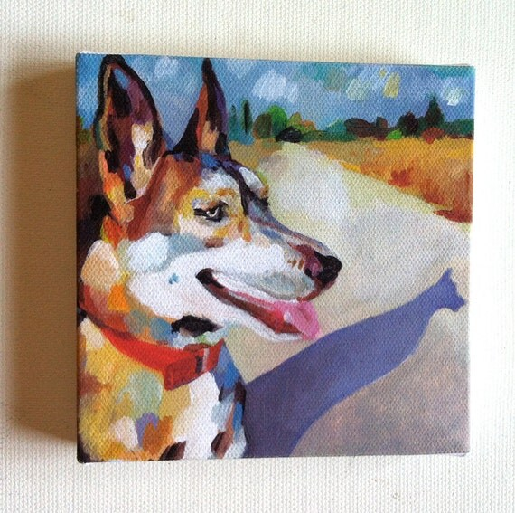 Dog and Shadow / Tiny canvas print