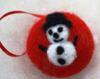 Christmas  Red Ornament With Snowman
