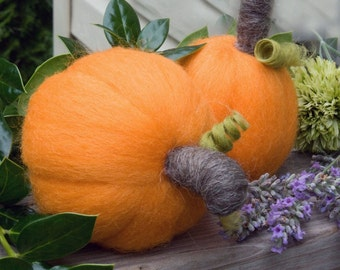 Needle Felted Pumpkins Two Wool  Sculptures