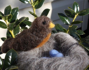 Needle Felted Robin and Nest Sculpture Wool Nature