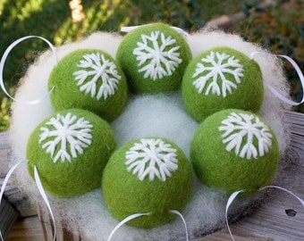 Needle Felted Christmas Snowflake Ornaments Six