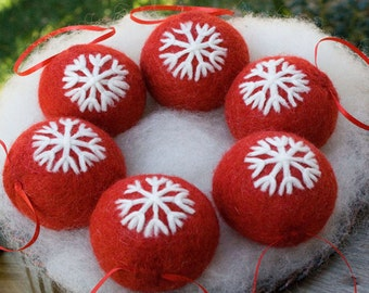 Needle Felted Red Christmas Snowflake Design Ornament