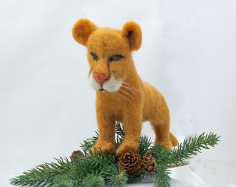 Needle Felted Mountain Lion Wool