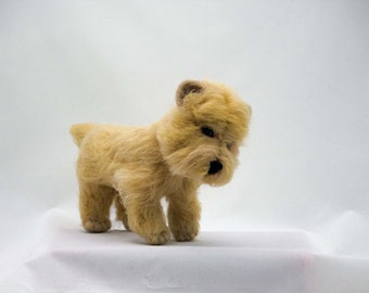 Free Shipping Needle Felted Dog Cairn Terrier Wheaten Wool Dog Felted Dog