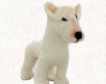 Needle Felted Dog Bull Terrier Soft Sculpture Wool Fiber Dog Free Shipping Felted Dog