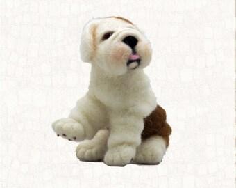 Needle Felted Dog English Bulldog Wool Felt Animals Free Shipping Miniature Animal Sculpture