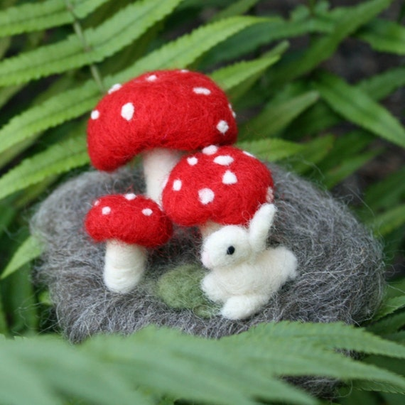 Mushroom and Bunny Needle Felted Forest Scene Custom