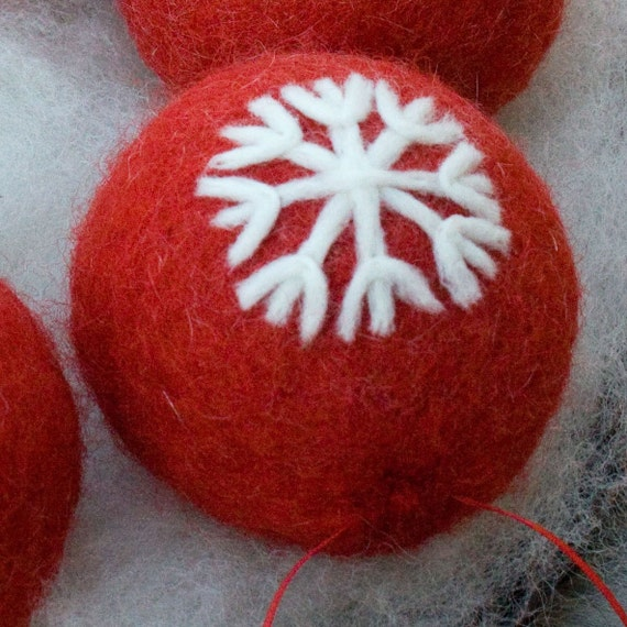 Felted Ornament Red With Snowflake Design