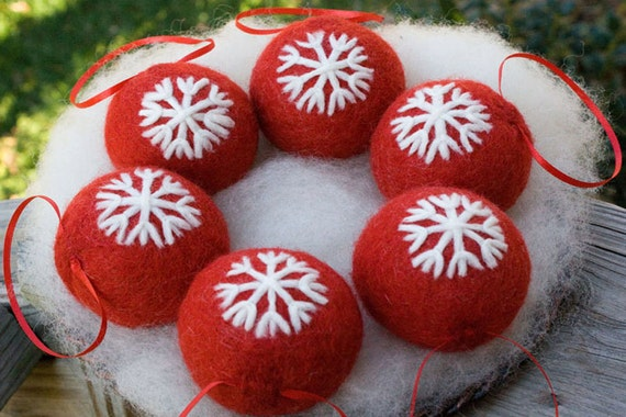 Christmas Ornament Needle Felted Red Christmas Snowflake Design Ornament Tree Ornament Holiday Ornament