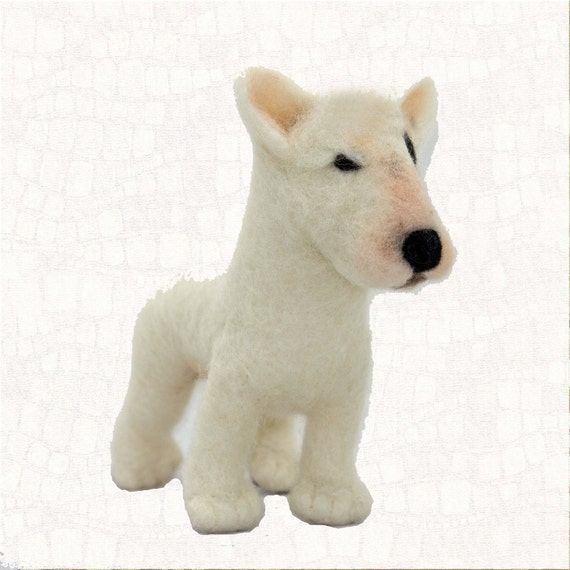 Needle Felted Dog Bull Terrier Soft Sculpture