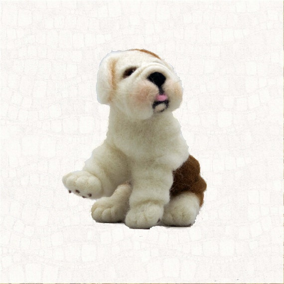Needle Felted Dog English Bulldog Puppy Dolls And Miniature Animal Sculpture