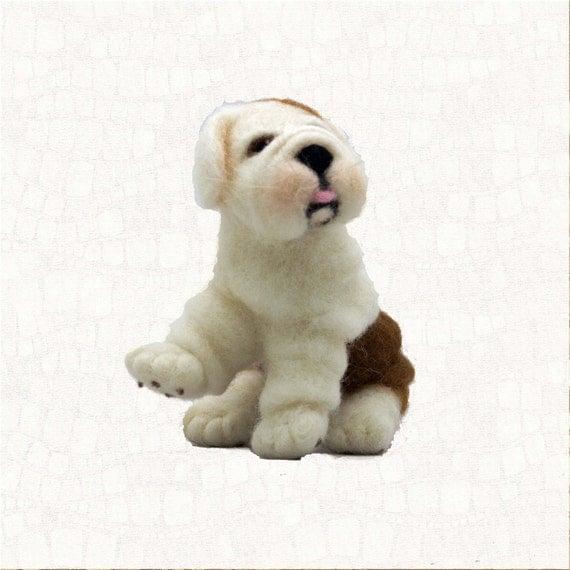Needle Felted Dog English Bulldog Puppy Dolls And Miniature Animal Sculpture