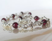 Garnet Bracelet - Sterling Silver Knot Bracelets - Handmade Chain - Linked Artisan Knots - Red Gemstone Bead -Rustic Organic Link Boho Chain
