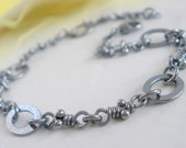 Sterling Silver Bracelet. Linked Knots. Rustic Oxidized Links. Handmade Chain -Magali-