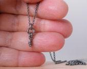 Sterling Silver Knot Necklace Tiny Rustic Knot Oxidized Pendant Silver Mini Necklace Rustic Dangle Knots Little Pendant Wee Necklace Aroluna