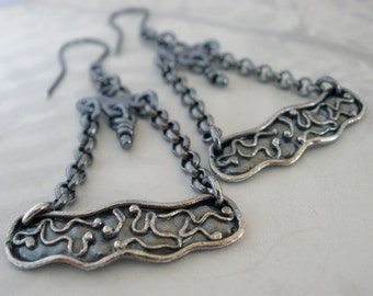 Sterling Silver Chandelier Earrings. Organic Rustic Oxidized One of a Kind Earring. Nature-
