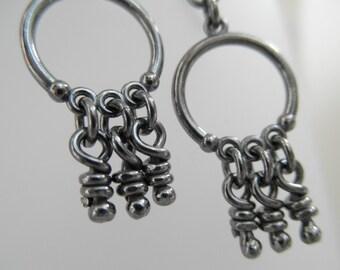 Sterling Silver Earrings. Oxidized Small Chandelier with Little Dangling Knots -Meri-