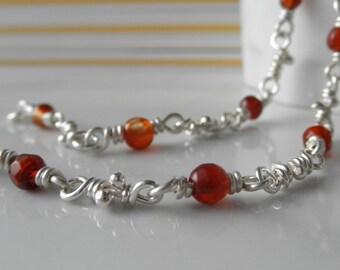 Agate Bracelet, Sterling Silver Knot Links, Handmade Chain, Organic Bracelets Red Orange Wrapped Agates, Rustic Silver Knots, Chain Bracelet