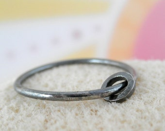 Ring-Ring Sterling Silver. Rustic Oxidized. 14 gauge. Size 7