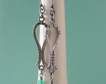 Green Agate Sterling Silver Earrings. Oxidized Dangling Stone. Dangle Drop Earring