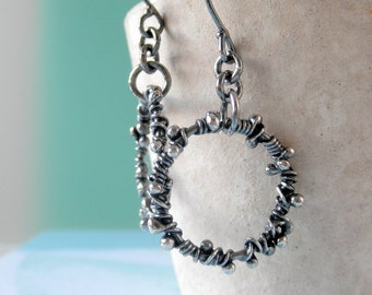 Hoop Earrings Sterling Silver Wrapped Hoops Rustic Organic Raw Earrings Silver Jewelry Oxidized Earrings Textured Circles Wrapped Sterling