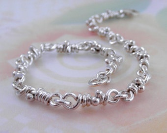 Tao Sterling Silver Organic Bracelet. Rustic Linked Knots. Handmade Links Chain. Aroluna