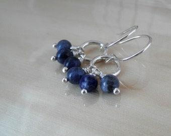 Lau Denim Blue Sodalite- Sterling Silver Dangle Earrings- Little Earring- Short Chandelier- Whimsical Hoop Earrings