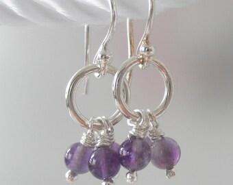 Amethyst Earrings, Sterling Silver Tiny Purple Earrings, Dangle Rustic Hoop Silver Earring, Gemstone Light Earrings, Lau Amethyst Hoops