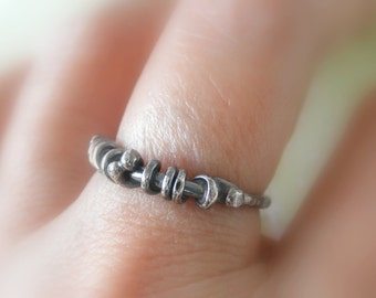 Unico Sterling Silver Oxidized Rustic Ring. Size 7.75