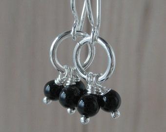 Lau Black Agate Sterling Silver Dangle Earrings Little Dainty Earrings Short Chandelier Light Simple Silver Earrings Whimsical Earrings