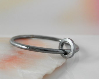 Ring-Ring Sterling Silver. Rustic Oxidized. 16 gauge. Sizes 7 and 7.50