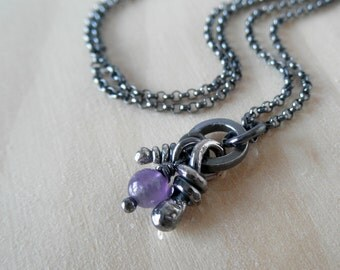 Amethyst Pendant, Sterling Silver, Silver Necklaces, Rustic Knots Pendant, Oxidized Pendants, Organic Knot, Amethyst Necklace, Flora Pendant