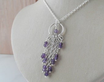 Sterling Silver Necklace. Cascade Pendant with chain & amethyst stone beads.
