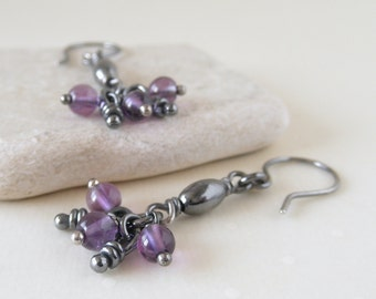 Ana Amethyst Sterling Silver Rustic Earrings, Oxidized Tiny Knots, Organic Earrings