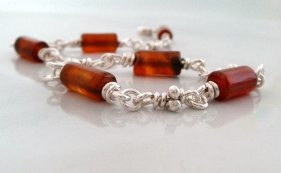 Fire Agate Sterling Silver Bracelet. Knot Link Silver Bracelets. Handmade Chain. Rustic Organic Knots. Brown Red Honey Candy Stone. Aroluna