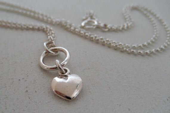 Hai Heart Sterling Silver Necklace. Tiny Pendant. Aroluna Handmade Jewelry.