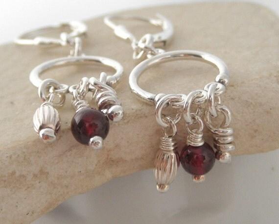 Julia Garnet Sterling Silver Earrings. Leverbacks.