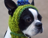 Blue Blossom Dog Hat With Button Strap