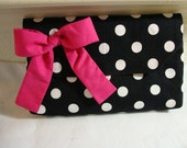 Professional Clutch with Pink Bow, Black and White polka dots