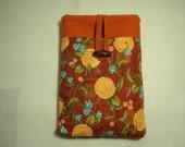 Padded Kindle Sleeve, Asian Floral Print, Burnt Orange with aqua flowers, pocket