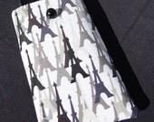 Vinyl Smart Phone Padded Sleeve in Modern, Black, White and Grey Eiffle Tower Print