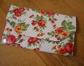 Retro Flowers Padded Kindle Envelope or Simple Wallet, Vinyl Covered