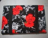 Padded eReader Sleeve in Rose Print for Nook Tablet and Color, Kindle Keyboard and Fire