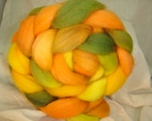 Spinning fiber, Combed Top, Roving Hand dyed in Melon Slice Falkland  4 oz braids  Yellow, Orange, green