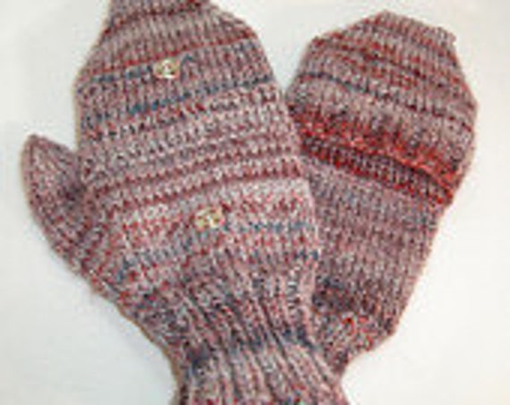 Mittens convertible mittens  Ladys ...Hand Knit from Hand Spun  Merino ... ..Red grapes