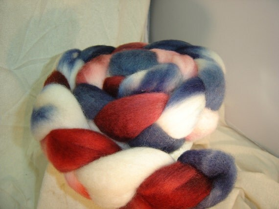 Roving, Combed Top, Spinning fiber, Hand dyed in The Patriot BFL  blue face leicester 4 oz braid  Red, White & Blue