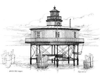 Seven Foot Knoll Lighthouse - print