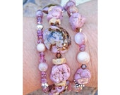 Bracelet - Desert Rose (Chunky Triple Strand in Silver, Dusty Rose Muted Mauve Taupe Brown, Pink Tourmaline Pink Turquoise, Shell) OOAK